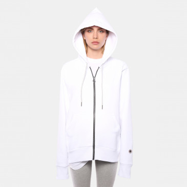 ZIP UP HOOD WHITE TERRY