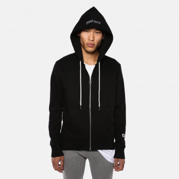 ZIP UP HOOD BLACK TERRY