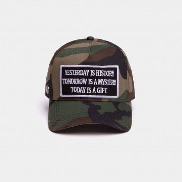 COTTON WORD CAP CAMO KAKI