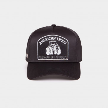 SATIN PATCH CAP BLACK TRUCK