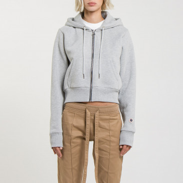 CROP ZIP UP GREY MARL