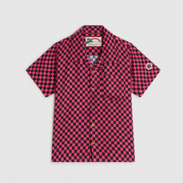 KID ALOHA SHIRT CHECK PINK