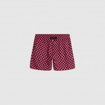 KID ALOHA SHORT CHECK PINK