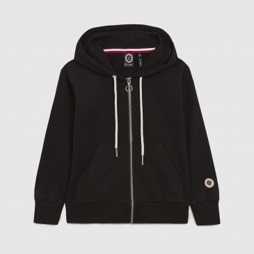 ZIP UP HOOD KID BLACK TERRY