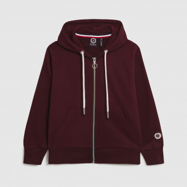 ZIP UP HOOD KID BORDEAUX TERRY