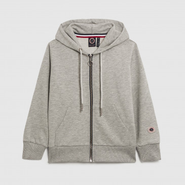 KID ZIP UP HOOD GREY MARL