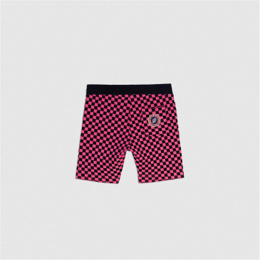 KID SHORT PINK CHECK TERRY