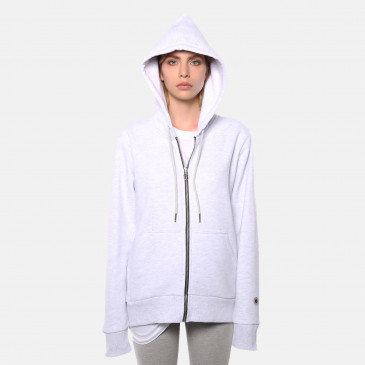ZIP UP HOOD GREY ICE MARL TERRY