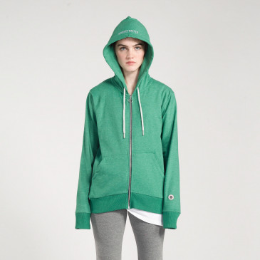 ZIP UP HOOD MINT MARL TERRY