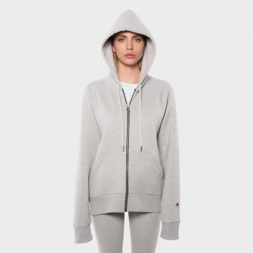 ZIP UP HOOD GREY MARL TERRY