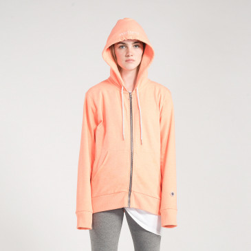 ZIP UP HOOD NEON ORANGE TERRY