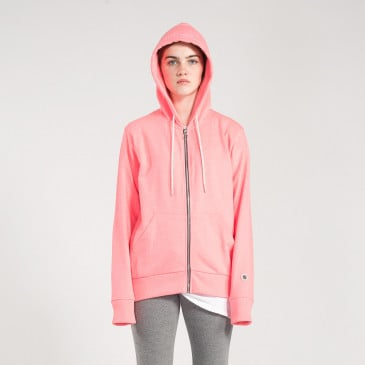 ZIP UP HOOD NEON PINK TERRY