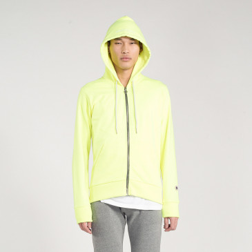 ZIP UP HOOD NEON YELLOW TERRY