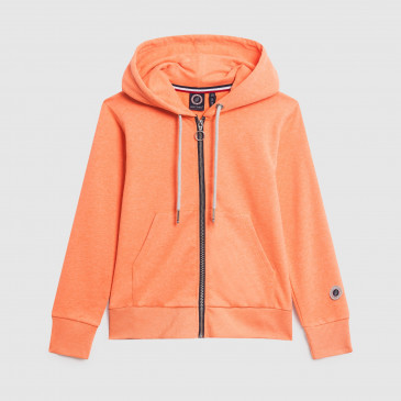 ZIP UP HOOD KID NEON ORANGE TERRY