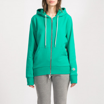 ZIP UP HOOD LASER GREEN TERRY