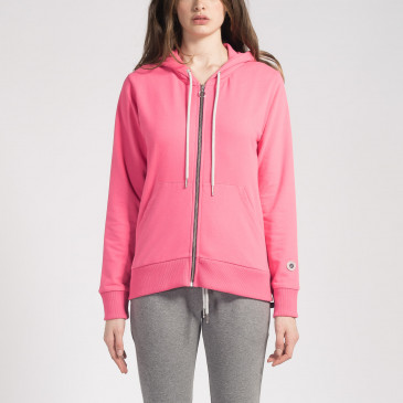 ZIP UP HOOD LASER PINK TERRY
