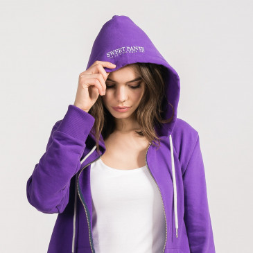 ZIP UP HOOD PURPLE TERRY