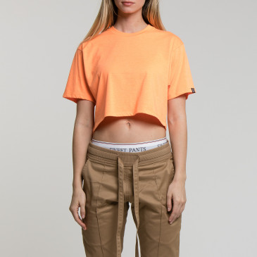CROP LOGO ORANGE FLUO