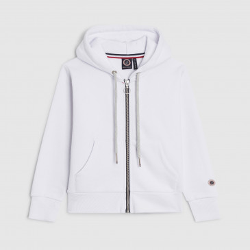 ZIP UP HOOD WHITE KID TERRY