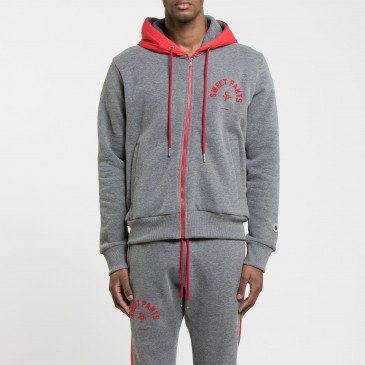 TWICE ZIP UP  DARK MARL/RED