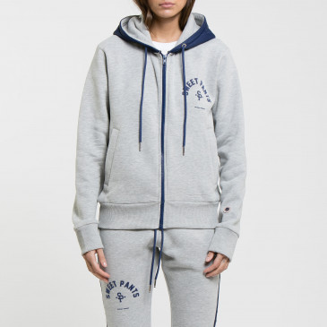 TWICE ZIP UP  GREY MARL/NAVY