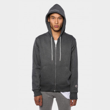 ZIP UP HOOD BLACK MARL TERRY